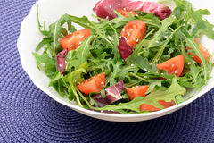 Fresh salad with arugula cherry tomatoes and sesame. Arugula, sesame and cherry tomatoes with olive oil close-up Royalty Free Stock Photography