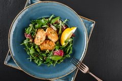 Fresh salad with arugula, spinach, avocado and vegetable cutlets with herbs, garnished with lemon in plate over dark background. Healthy vegan food, clean stock images
