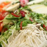 Fresh salad with assorted ingredients Stock Photo