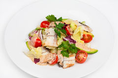The fresh salad with avocado and smoked eel. On the plate Royalty Free Stock Images