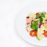 The fresh salad with avocado and smoked eel. On the plate. Square crop Royalty Free Stock Images