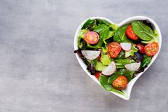 Fresh salad with baby spinach and tomatoes, radish und salad. Healthy vegetable salad of fresh tomatoes, spinach, lettuce and radish Royalty Free Stock Images