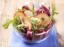 Fresh salad with bake rolls Stock Images
