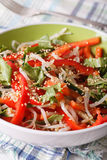 Fresh salad with bean sprouts, peppers and sesame seeds close up Stock Photos