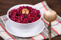 Fresh salad with beet and walnuts Stock Image