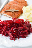 Fresh salad with beetroot, carrots and apples on white backgroun Stock Photo