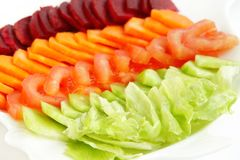 Fresh salad of Beetroot, tomato, carrot & Lettuce Stock Photo
