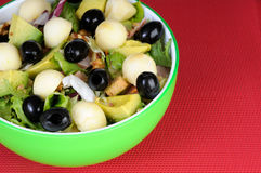 Fresh salad with black olives and avocado Royalty Free Stock Photography