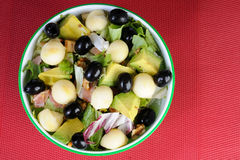 Fresh salad with black olives and avocado Royalty Free Stock Photo