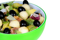 Fresh salad with black olives and avocado Stock Photography