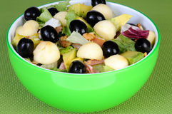 Fresh salad with black olives and avocado Stock Image