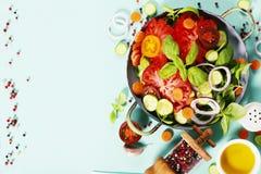 Fresh salad on blue background Stock Photos