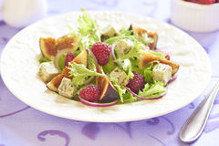 Fresh salad with blue cheese, raspberry and figs Stock Image