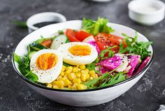 Fresh salad. Bowl with fresh raw vegetables stock photos
