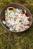 Fresh salad in bowl. Fresh salad with salad leafs, carrots and radish in bowl Royalty Free Stock Image