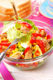 Fresh salad with breaded meat and vegetables Royalty Free Stock Photography
