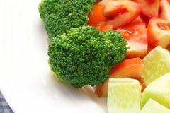Fresh salad with brocolli. Closeup of fresh salad with brocolli on plate Royalty Free Stock Images