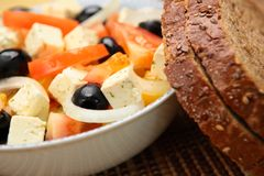 Fresh Salad with Brown Bread Royalty Free Stock Photo