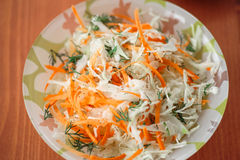 Fresh salad of cabbage and carrots Royalty Free Stock Photo