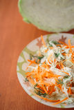 Fresh salad of cabbage and carrots Stock Photos
