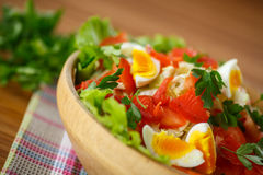 Fresh salad with cabbage and red fish Royalty Free Stock Images