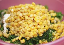 Fresh salad with canned corn, cabbage and parsley royalty free stock photo