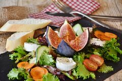 Fresh salad cheese and bread Royalty Free Stock Photography