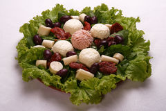 Fresh Salad with cheese, ham, lettuce, tomato, palm end olive. Stock Photography