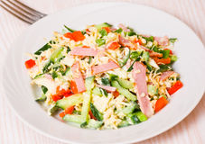 Fresh salad with cheese, ham and vegetables. On plate Royalty Free Stock Photo
