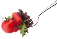 Fresh salad and cherry tomato on fork isolated on white backgrou Stock Image