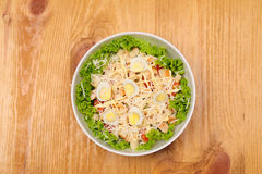 Fresh salad with chicken breast, cheese and eggs Royalty Free Stock Images