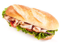 Fresh salad with chicken on a crusty baguette Stock Images