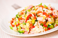 Fresh salad with chicken, ham and vegetables Stock Image