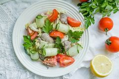 Fresh salad with chicken leaver. Fresh salad with chicken, tomato and greens top view. Healthy food stock image