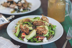 Fresh salad with chicken,tomatoes and avocado Stock Images