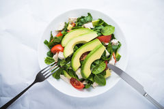 Fresh salad with chicken, tomatoes, spinach and avocado on white background top view Stock Image