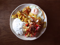 Fresh salad, cottage cheese and fried egg Stock Photos