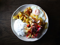 Fresh salad, cottage cheese and fried egg Royalty Free Stock Images