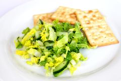Fresh salad with crackers Royalty Free Stock Photo