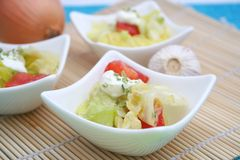 Fresh salad with cream Stock Images