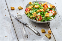 Fresh salad with croutons and chicken Royalty Free Stock Photography
