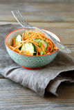 Fresh salad with cucumber and carrot in a bowl Royalty Free Stock Photos