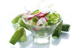 Fresh salad with cucumber and radish. Fresh salad with cucumbers and radishes on a white background Royalty Free Stock Photography