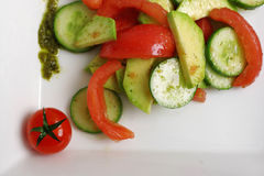 Fresh salad with cucumber, tomato and cabbage Royalty Free Stock Image