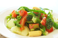 Fresh salad with cucumber, tomato and peppers. Fresh salad with cucumber, tomato, peppers, baby sweet corn and broccoli on white plate Royalty Free Stock Images
