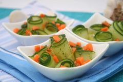 Fresh Salad of cucumbers and carrots Royalty Free Stock Photography
