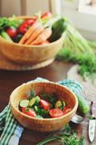 Fresh salad with cucumbers and tomatoes Royalty Free Stock Photography