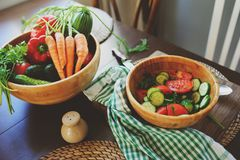 Fresh salad with cucumbers and tomatoes Royalty Free Stock Photos
