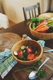 Fresh salad with cucumbers and tomatoes picked from farm garden Royalty Free Stock Photography