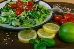 Fresh salad from different kinds of greens and a cherry tomato, dressed with olive oil and sprinkled with sesame seeds royalty free stock images